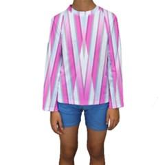 Geometric 3d Design Pattern Pink Kids  Long Sleeve Swimwear