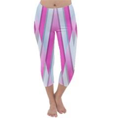 Geometric 3d Design Pattern Pink Capri Winter Leggings