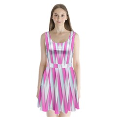 Geometric 3d Design Pattern Pink Split Back Mini Dress
