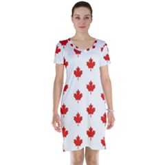 Maple Leaf Canada Emblem Country Short Sleeve Nightdress