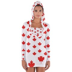Maple Leaf Canada Emblem Country Long Sleeve Hooded T Shirt