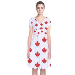 Maple Leaf Canada Emblem Country Short Sleeve Front Wrap Dress
