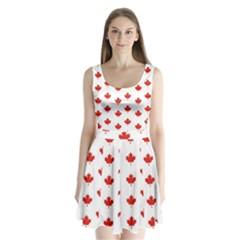 Maple Leaf Canada Emblem Country Split Back Mini Dress