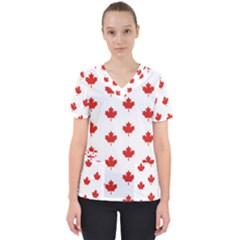 Maple Leaf Canada Emblem Country Scrub Top