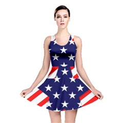 Patriotic Usa Stars Stripes Red Reversible Skater Dress