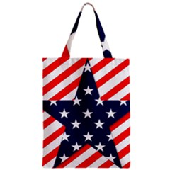 Patriotic Usa Stars Stripes Red Zipper Classic Tote Bag