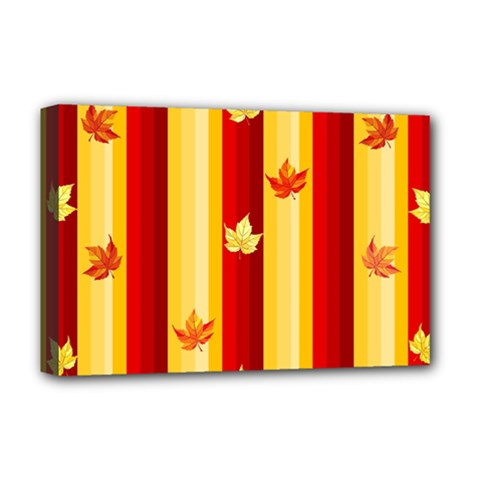 Autumn Fall Leaves Vertical Deluxe Canvas 18  X 12