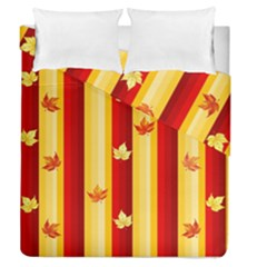 Autumn Fall Leaves Vertical Duvet Cover Double Side (queen Size)