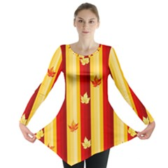 Autumn Fall Leaves Vertical Long Sleeve Tunic