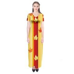 Autumn Fall Leaves Vertical Short Sleeve Maxi Dress