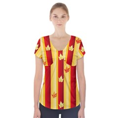 Autumn Fall Leaves Vertical Short Sleeve Front Detail Top