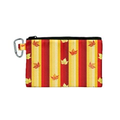 Autumn Fall Leaves Vertical Canvas Cosmetic Bag (small)