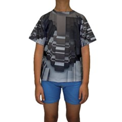 Fractal Render Cube Cubic Shape Kids  Short Sleeve Swimwear