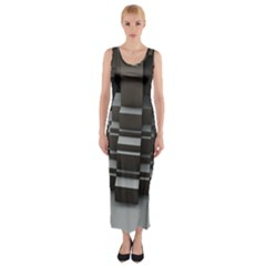 Fractal Render Cube Cubic Shape Fitted Maxi Dress