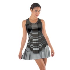 Fractal Render Cube Cubic Shape Cotton Racerback Dress