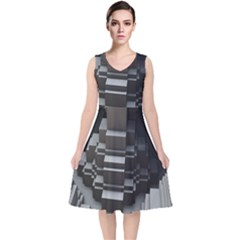 Fractal Render Cube Cubic Shape V Neck Midi Sleeveless Dress