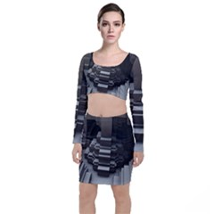 Fractal Render Cube Cubic Shape Long Sleeve Crop Top & Bodycon Skirt Set