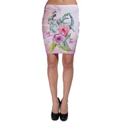Flowers And Leaves In Soft Purple Colors Bodycon Skirt