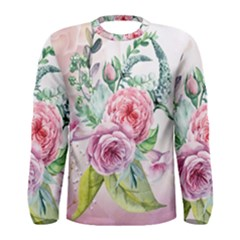 Flowers And Leaves In Soft Purple Colors Men s Long Sleeve Tee