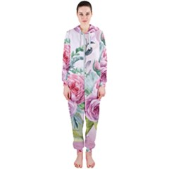 Flowers And Leaves In Soft Purple Colors Hooded Jumpsuit (ladies)