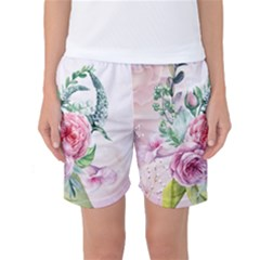 Flowers And Leaves In Soft Purple Colors Women s Basketball Shorts