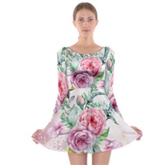Flowers And Leaves In Soft Purple Colors Long Sleeve Skater Dress
