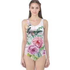 Flowers And Leaves In Soft Purple Colors One Piece Swimsuit