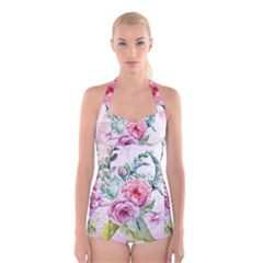 Flowers And Leaves In Soft Purple Colors Boyleg Halter Swimsuit