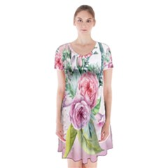 Flowers And Leaves In Soft Purple Colors Short Sleeve V Neck Flare Dress