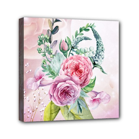 Flowers And Leaves In Soft Purple Colors Mini Canvas 6  X 6