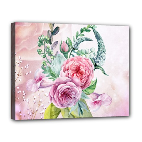 Flowers And Leaves In Soft Purple Colors Canvas 14  X 11