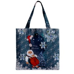 Funny Santa Claus With Snowman Grocery Tote Bag