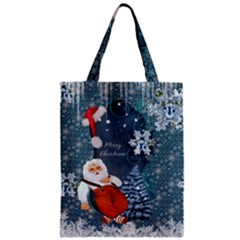Funny Santa Claus With Snowman Zipper Classic Tote Bag