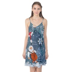 Funny Santa Claus With Snowman Camis Nightgown