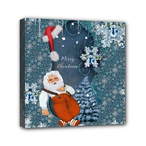 Funny Santa Claus With Snowman Mini Canvas 6  X 6