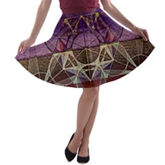 Cube Of Metatrone Diamond A Line Skater Skirt