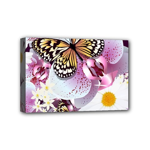 Butterflies With White And Purple Flowers  Mini Canvas 6  X 4