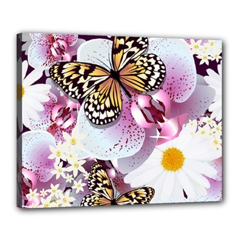 Butterflies With White And Purple Flowers  Canvas 20  X 16