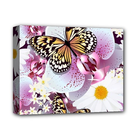 Butterflies With White And Purple Flowers  Deluxe Canvas 14  X 11