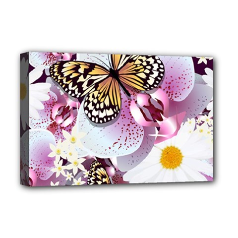 Butterflies With White And Purple Flowers  Deluxe Canvas 18  X 12
