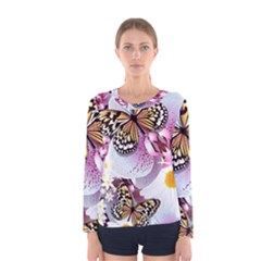 Butterflies With White And Purple Flowers  Women s Long Sleeve Tee
