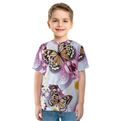 Butterflies With White And Purple Flowers  Kids  Sport Mesh Tee
