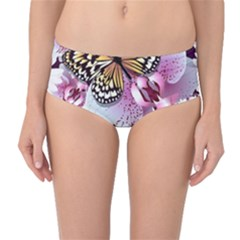 Butterflies With White And Purple Flowers  Mid Waist Bikini Bottoms