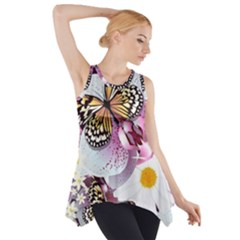 Butterflies With White And Purple Flowers  Side Drop Tank Tunic