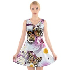 Butterflies With White And Purple Flowers  V Neck Sleeveless Skater Dress