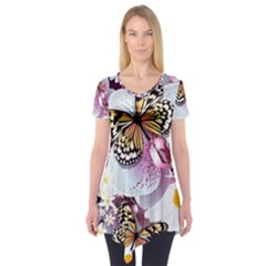 Butterflies With White And Purple Flowers  Short Sleeve Tunic