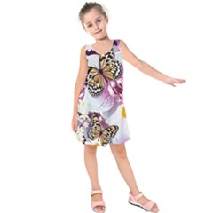 Butterflies With White And Purple Flowers  Kids  Sleeveless Dress