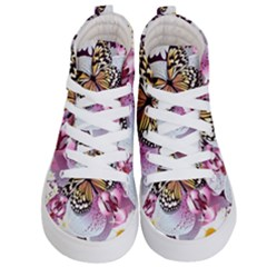 Butterflies With White And Purple Flowers  Kid s Hi Top Skate Sneakers