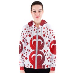 Monogram Heart Pattern Love Red Women s Zipper Hoodie