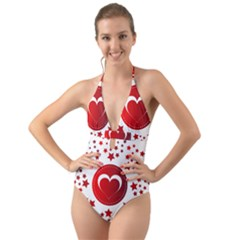 Monogram Heart Pattern Love Red Halter Cut Out One Piece Swimsuit